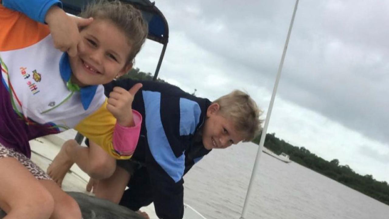 Grandchildren Charli-Rose and Xavier enjoying time on the boat.