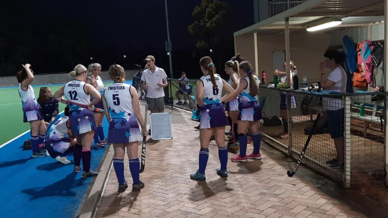 The Thistles A-Grade women's hockey with coach Sam Morgan. Picture: David Lems