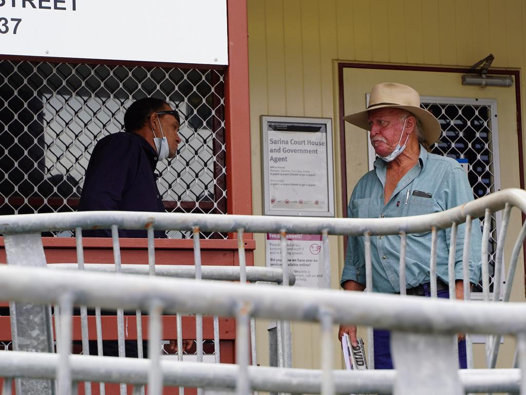 Daniel Eric Latimore (left) and his father Terrence Eric Latimore (centre) faced Sarina Magistrates Court on April 12, 2021 on drug-related charges. Picture: Heidi Petith