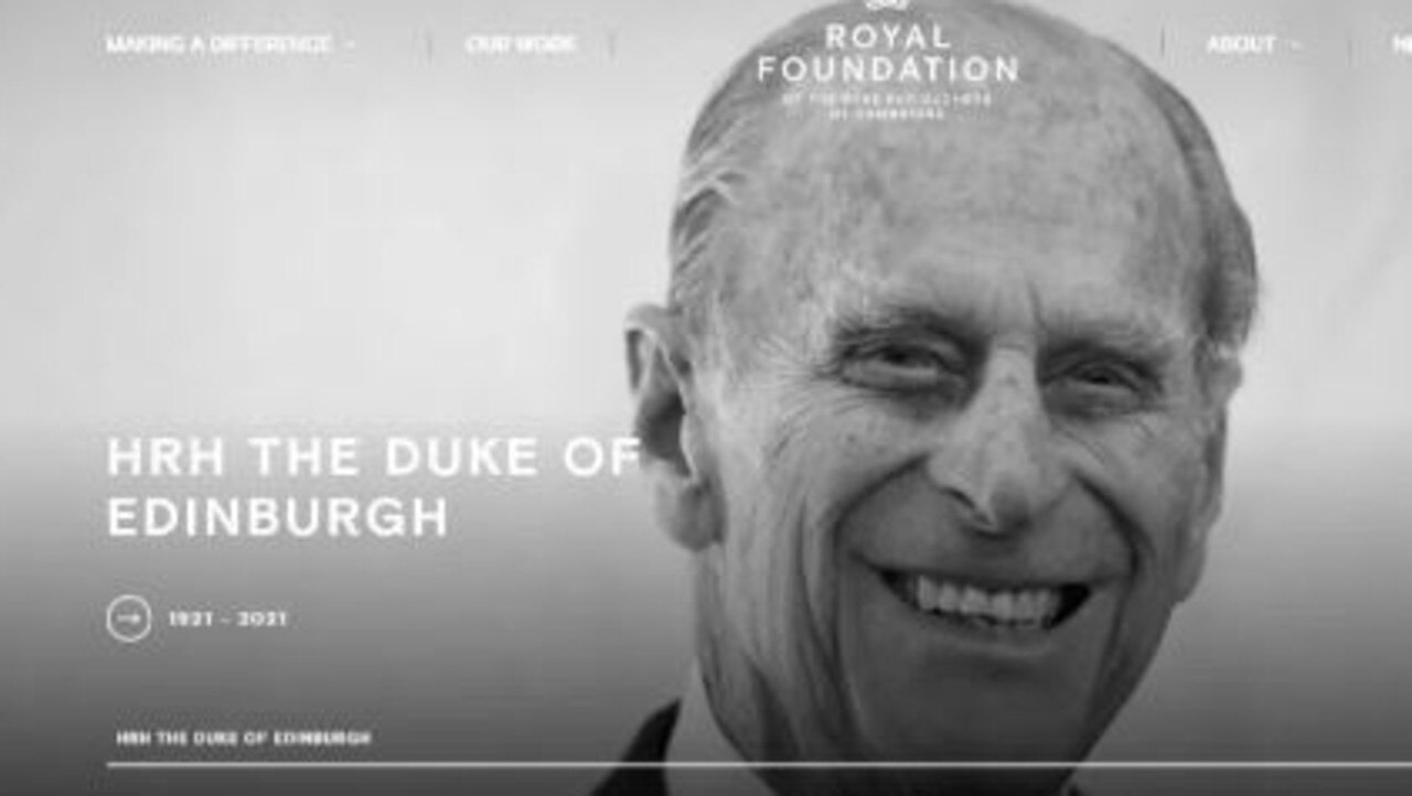 Prince William and Kate Middleton paid tribute to Prince Philip via their Royal Foundation website. Picture: Supplied