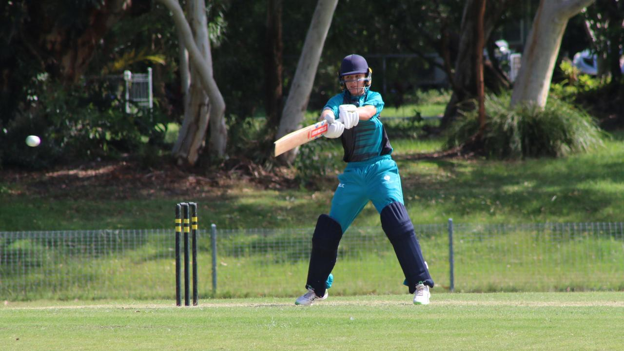 Flash player Riley Jackson at the Queensland under 16 cricket boys championships. Picture: Tom Threadingham