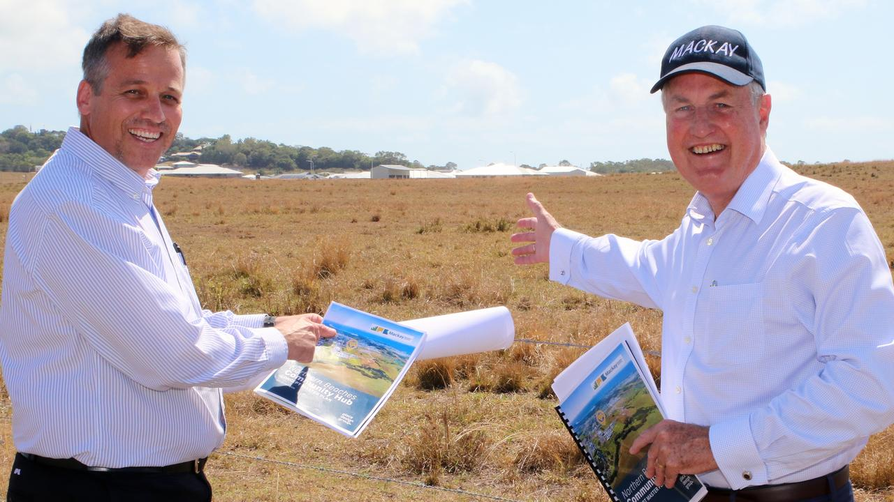 Mackay Regional Council Strategic Planning manager Jaco Ackerman and Mayor Greg Williamson at the Northern Beaches Community Hub site.