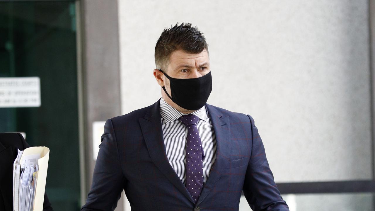Shaune Irving leaves Brisbane Magistrates Court. Picture: Tertius Pickard
