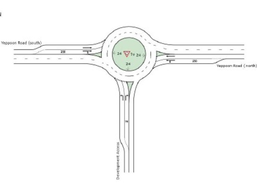 The preferred roundabout concept for on Yeppoon Road for Surf Lakes access.