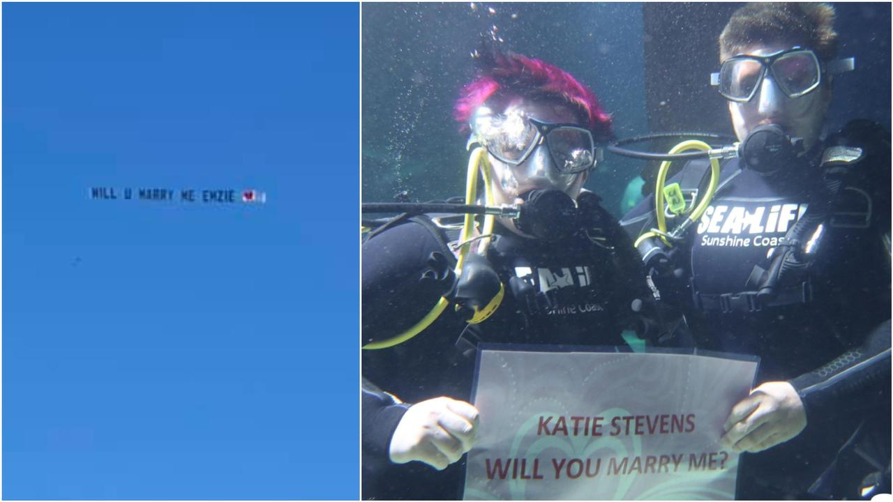 It was a weekend for surprise and quirky wedding proposals on the Sunshine Coast, with one popping the question from the sky and another underwater.