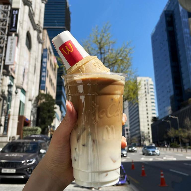 Introducing the 'McBassett' – a McDonald's iced latte served with a soft serve ice cream Picture: Instagram/@yeonjoo__oo