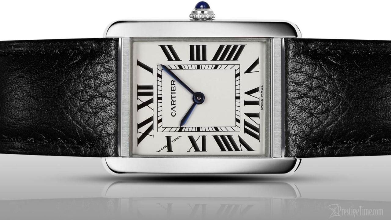 A classic Cartier tank watch.