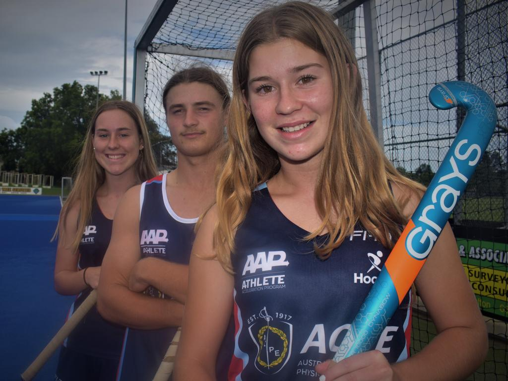 Ashleigh Ensbey, Rhys Cropper and Mackenna Ensbey are among a contingent of Grafton hockey players selected to represent NSW teams at national championships this year. Photo Bill North / The Daily Examiner
