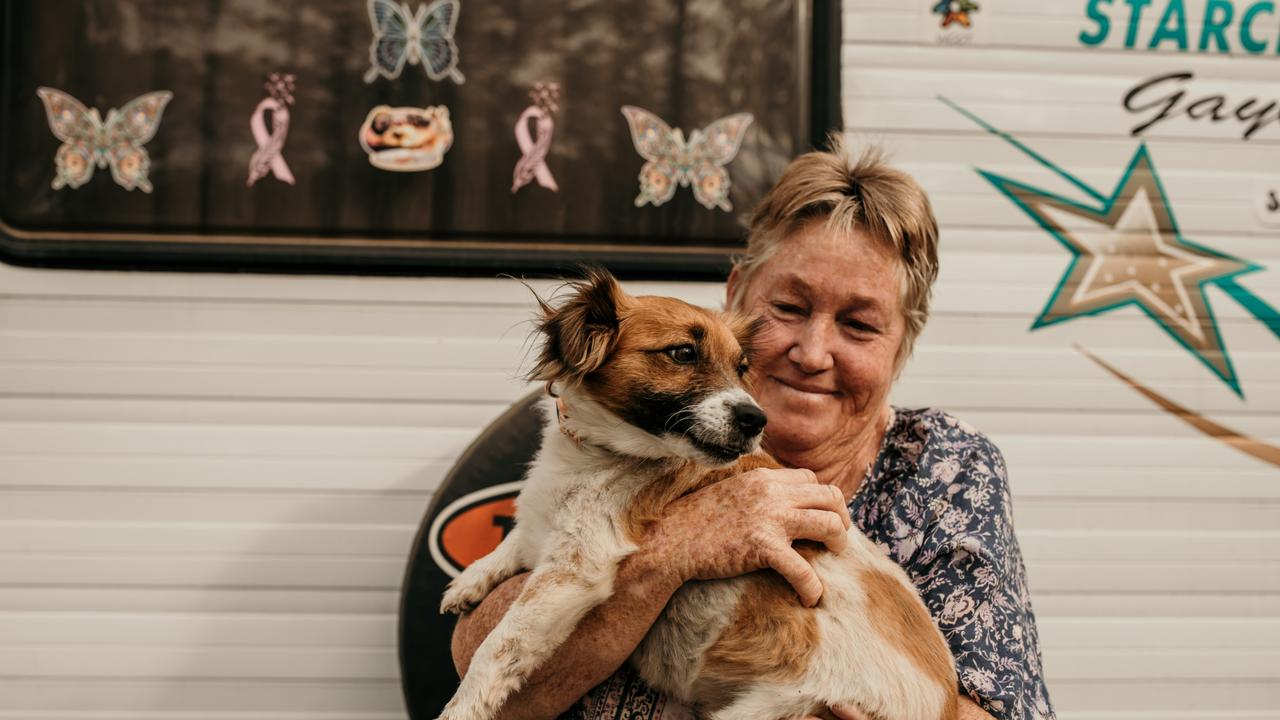 Gaylene Seeney and her sweet Mini Foxy cross Albert are the perfect travelling companions. Photo: Jekka Shearer (DARE Australia)