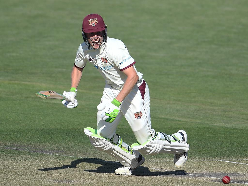 Bryce Street of the Bulls bats during day three of the Sheffield Shield match between Tasmania and Queensland at Blundstone Arena on February 19, 2021 in Hobart, Australia. Picture: Steve Bell/Getty Images