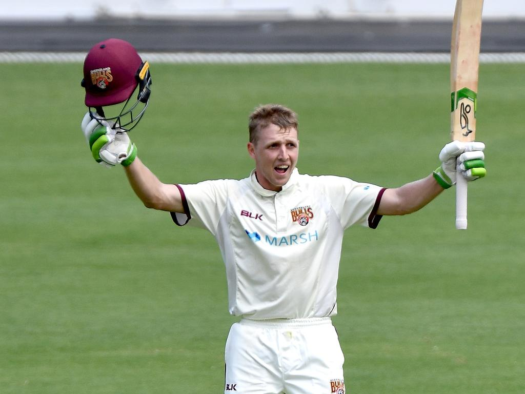 Bryce Street of Queensland celebrates after scoring a century during day three of the Sheffield Shield match between Queensland and Western Australia at The Gabba on March 08, 2021 in Brisbane, Australia.Picture: Bradley Kanaris/Getty Images