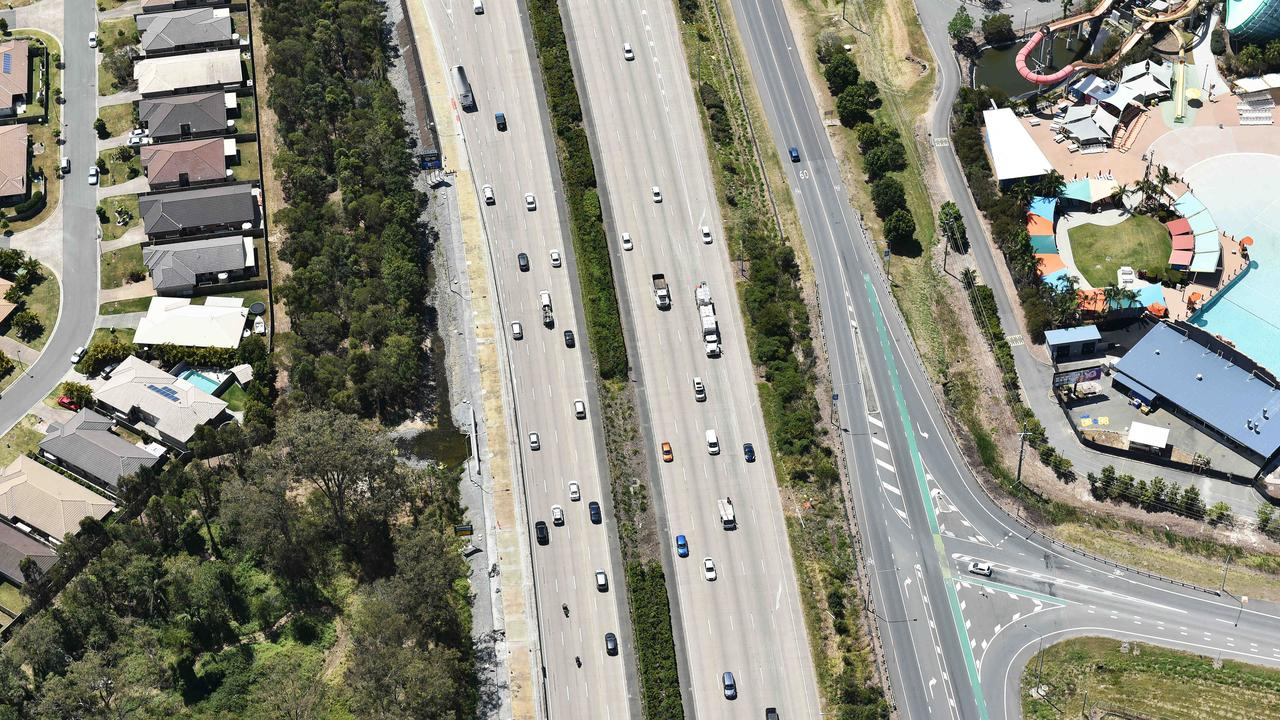 An aerial photo of the M1 between Gold Coast and Brisbane. Picture: Nigel Hallett