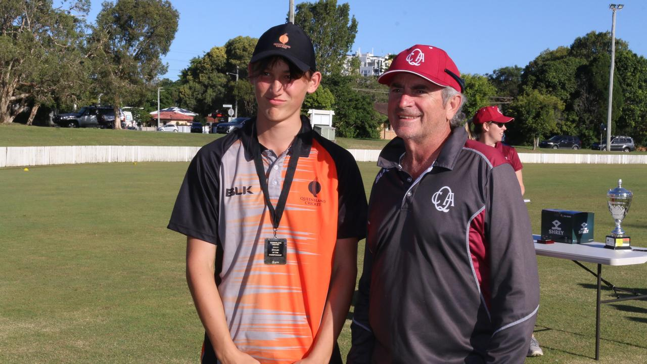 Thomas Malone, pictured with Queensland Cricket coaching specialist Bruce Dean, was named best bowler at the Queensland under 16 boys cricket championships, Caloundra Cricket Club. Picture: Tom Threadingham