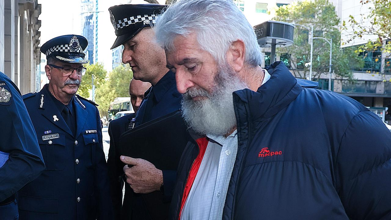 Leading Senior Constable Lynette Taylor's partner, Stuart Schultz, arrives at the sentencing. Picture: NCA NewsWire/Ian Currie