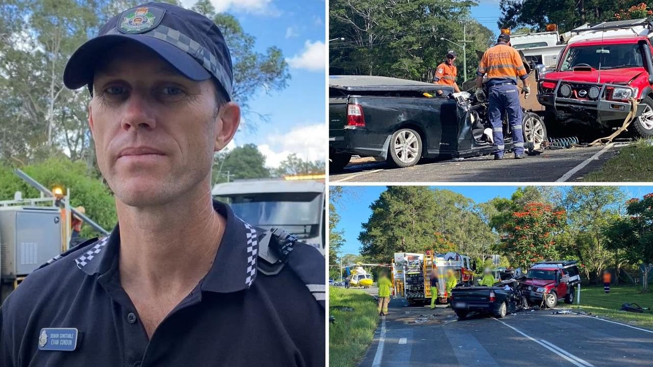 Forensic Crash Unit officer Senior Constable Evan Condon said it appeared the black ute had crossed over the road.