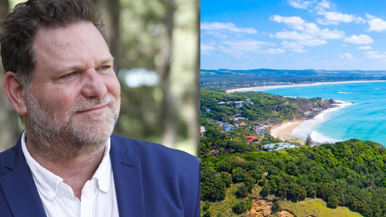 Byron mayor Simon Richardson and a view of Wategos in Byron Bay.