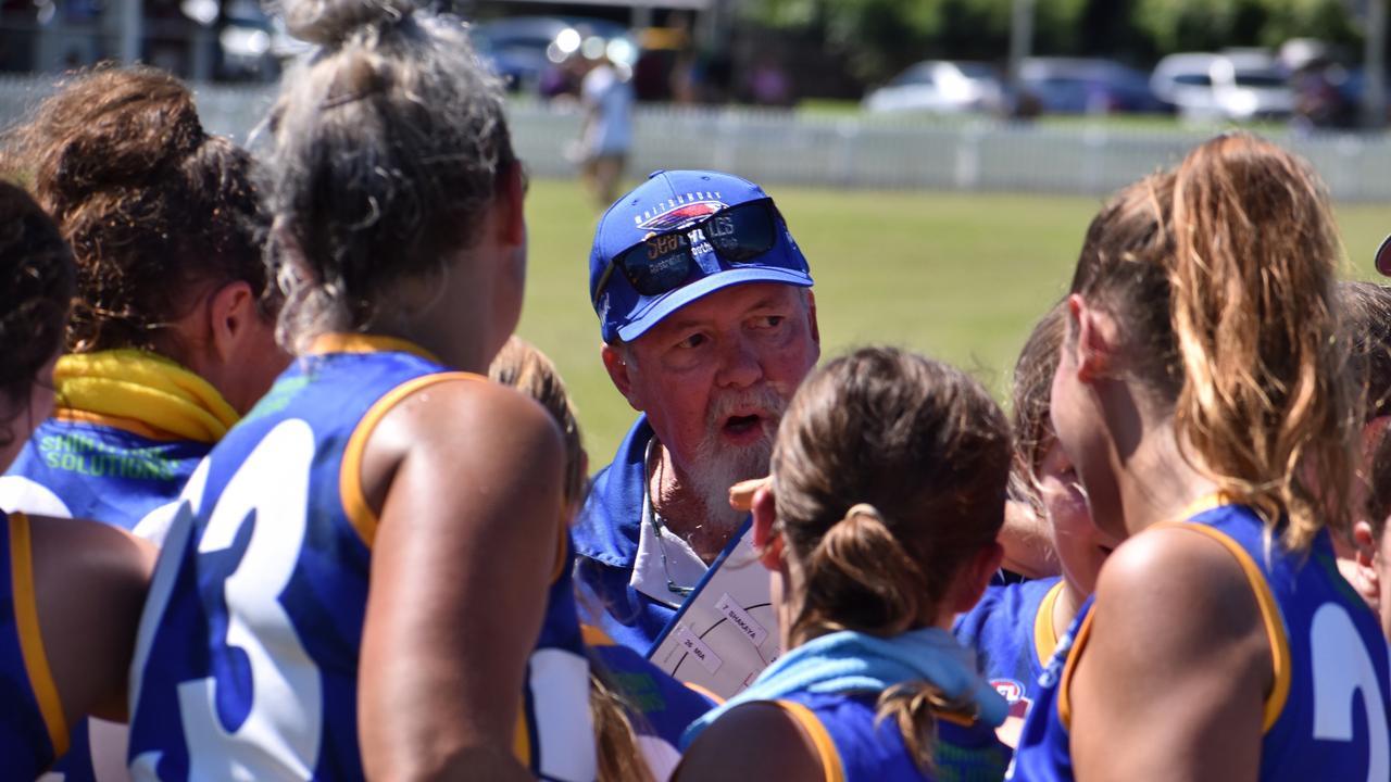 Sea Eagles women's coach Ian Hodges motivates the team. Picture: AFLQ Mackay Josh Rhodes