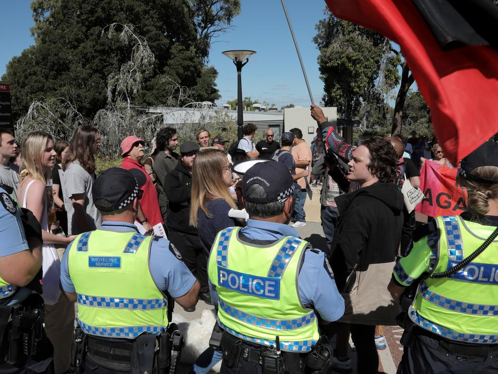 There was a strong police presence at the protest. Picture: NCA NewsWire/Philip Gostelow