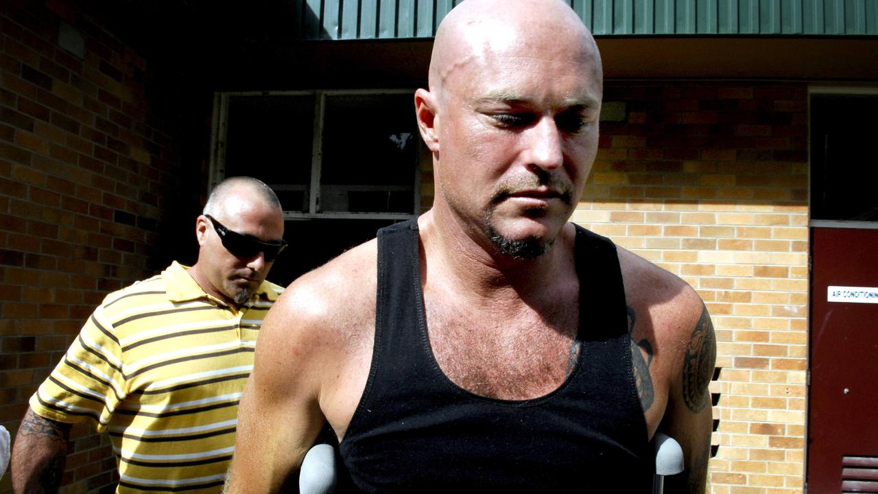 Michael Williams pictured leaving Mullumbimby Hospital after the 'Sea Rogue' sank off Byron Bay in 2008.