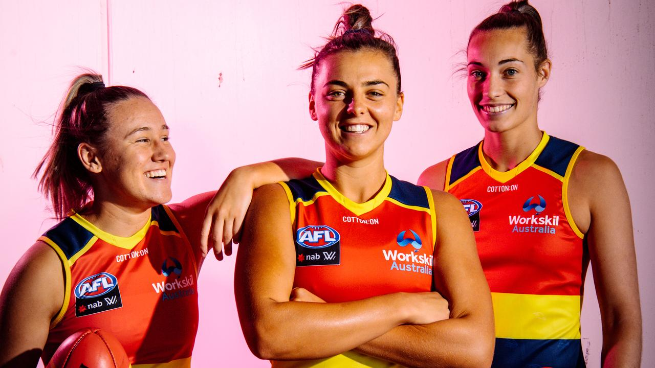 Crows AFLW players Hannah Munyard, Ebony Marinoff and Caitlin Gould. Picture: The Advertiser/ Morgan Sette