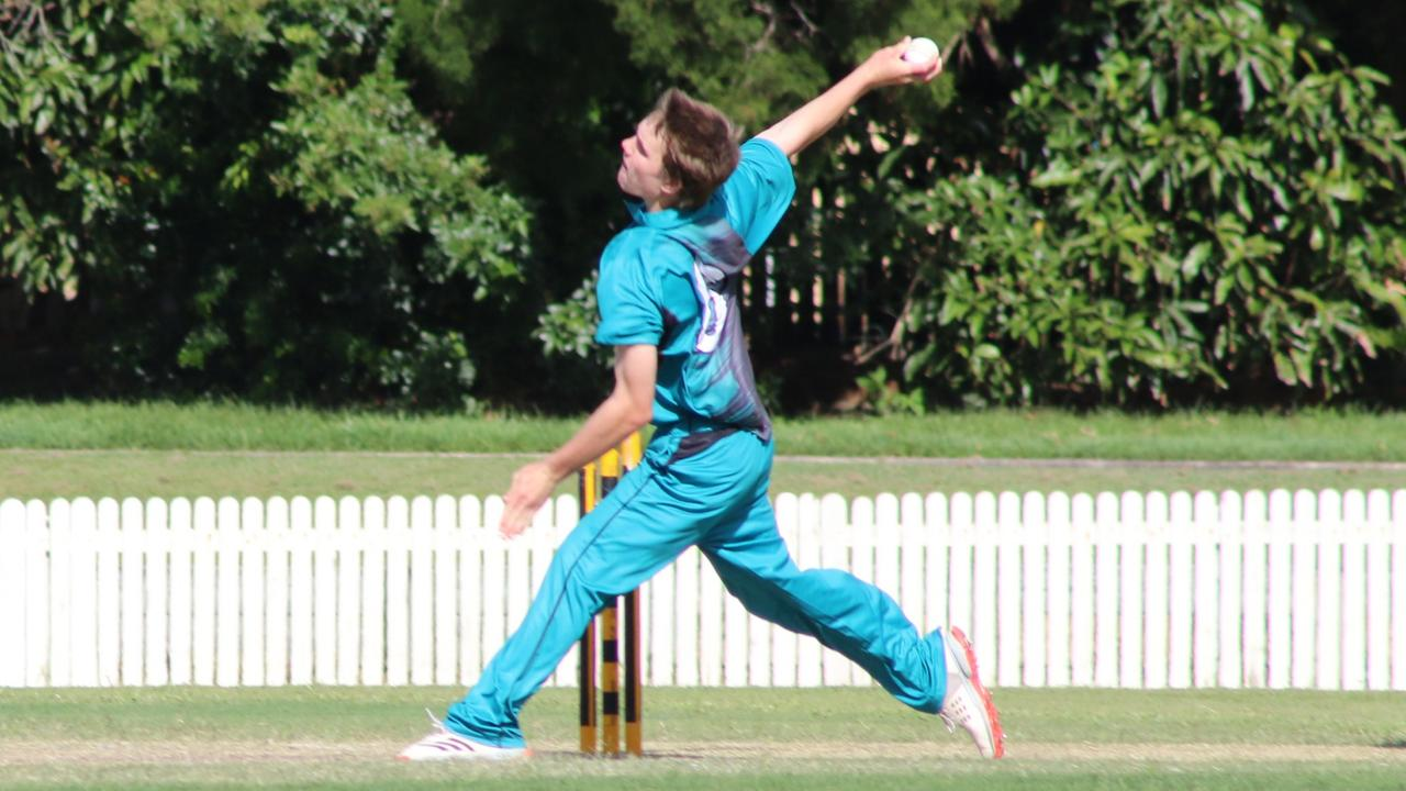 Flash player Joshua Welsh at the Queensland under 16 boys cricket championships, Caloundra Cricket Club. Picture: Harrison Cooper