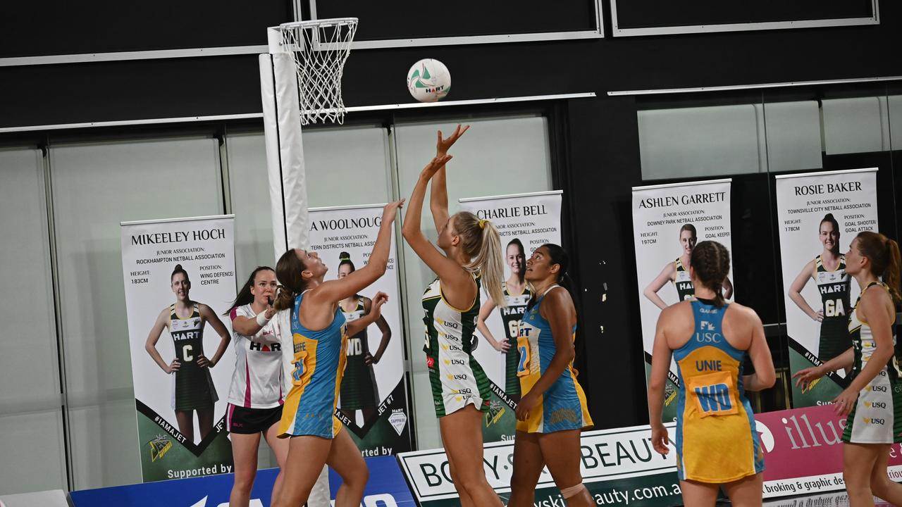 Action from the Sapphire Series preliminary final won by the USQ Ipswich Jets over Thunder at the Queensland State Netball Centre last season. Picture: Ipswich Jets Media