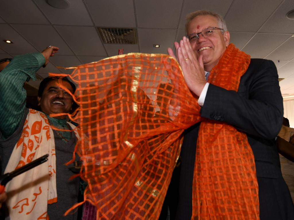 Scott Morrison has spruiked Australia and India's 'shared mission' in the Indo-Pacific. Picture: NCA NewsWire/ Sharon Smith