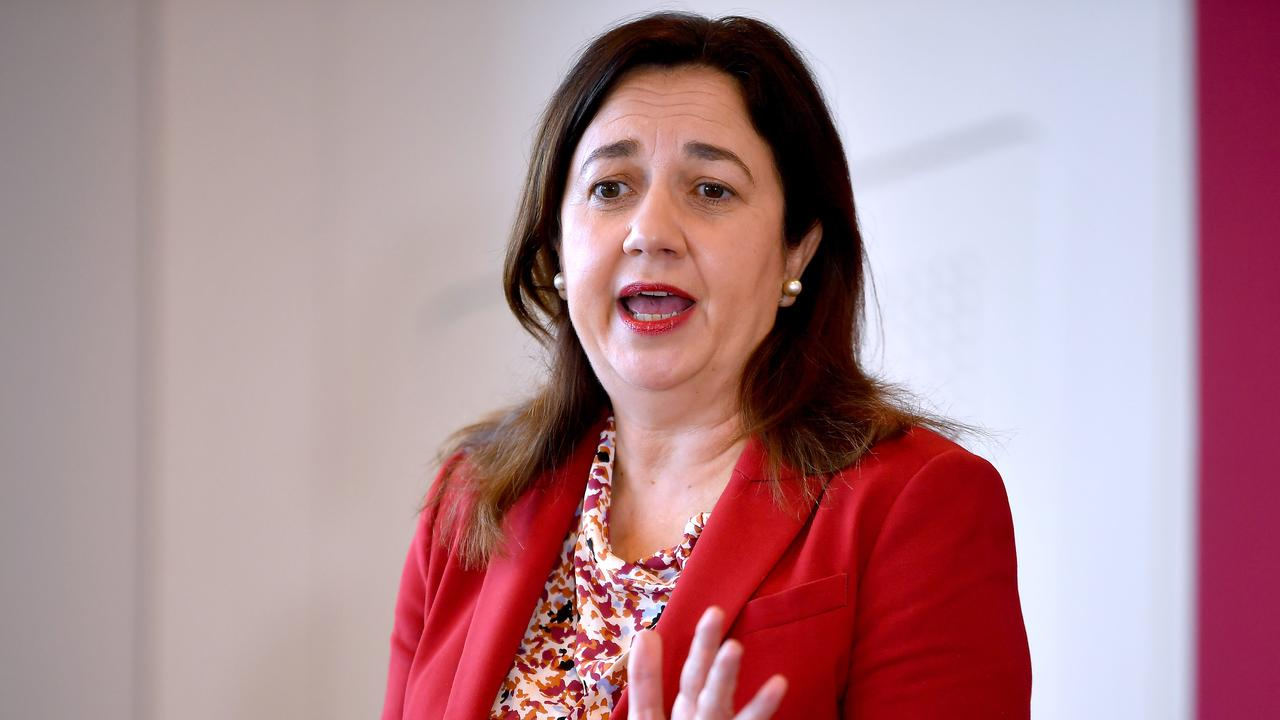Premier Annastacia Palaszczuk talks to the media at Government building, Brisbane. Picture: NCA NewsWire / John Gass