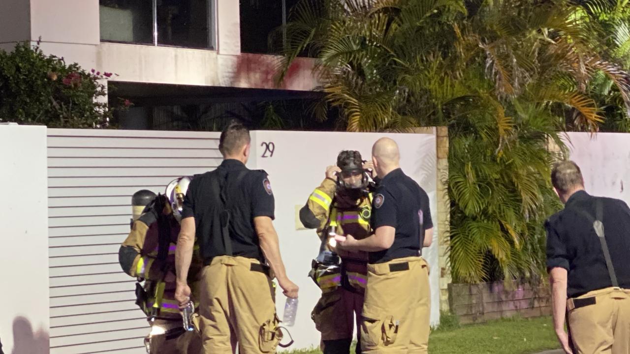 Fire crews battled the blaze in an Okinja Road, Alexandra Headland house on Wednesday night.