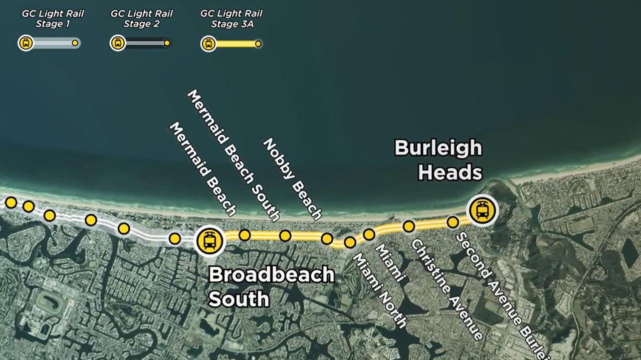 Gold Coast Light Rail Stage 3's route.