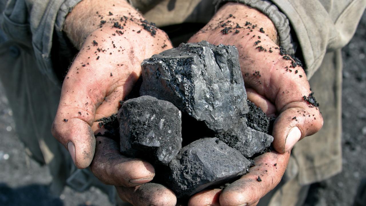 coal miner in the hands of