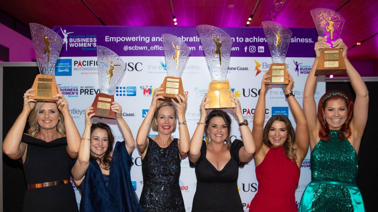 Sunshine Coast Business Women 2019 Award winners Kelly Lavery, Feda Adra, Heidi Walker, Frances Cayley, Jade Law and Natalie Tink. Picture: Supplied