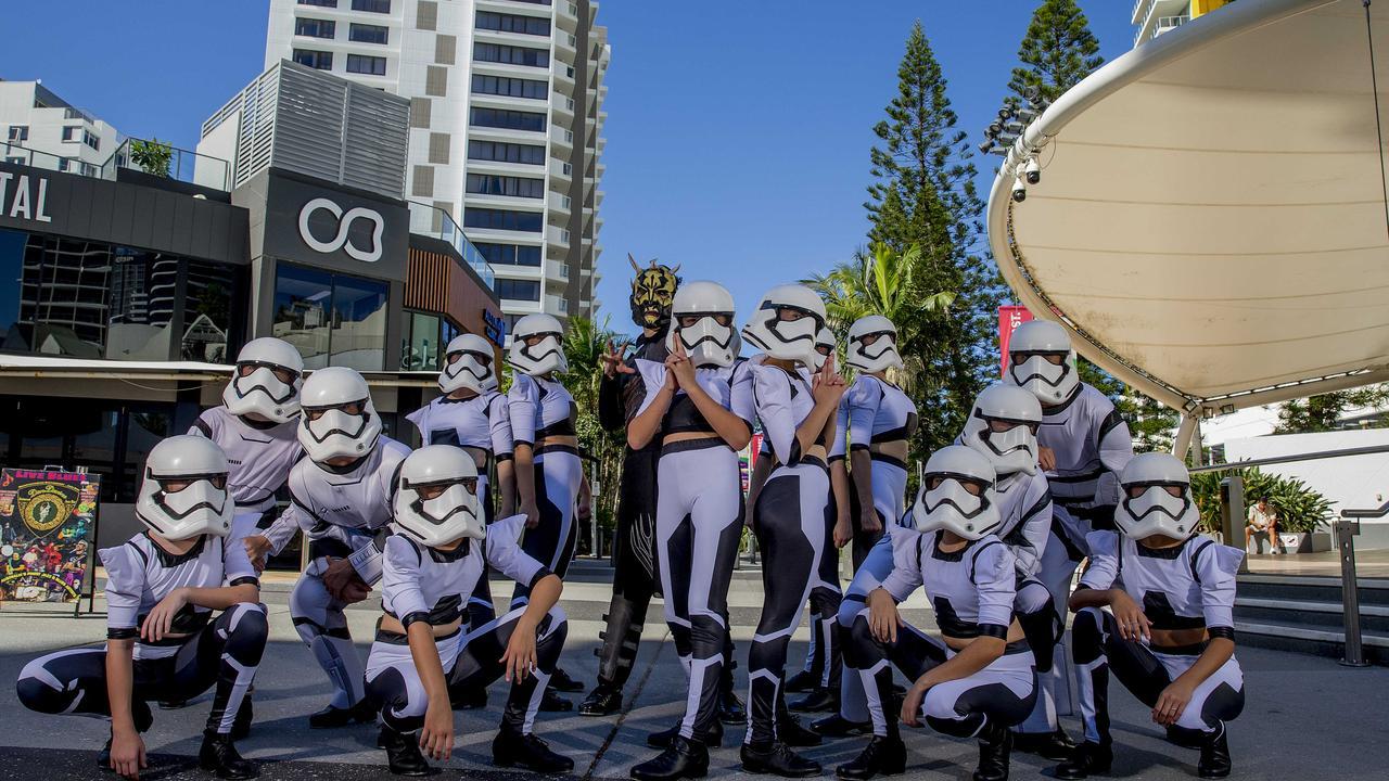 Tap dancing Stormtroopers dancing in the Broadbeach mall to celebrate Supanova. Picture: Jerad Williams