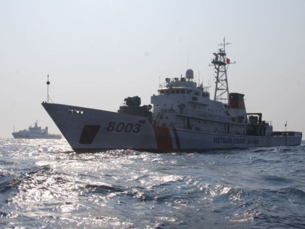 Vietnamese Coast Guard cutter 8003 active in the South China Sea. Source: Vietnam state media.