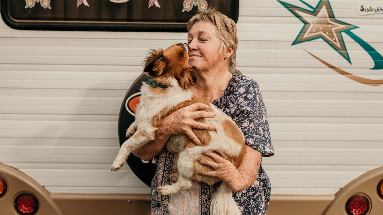 Gaylene Seeney and her sweet Mini Foxy cross Albert are the perfect travelling companions. Photo: Jekka Shearer (DARE Australia)