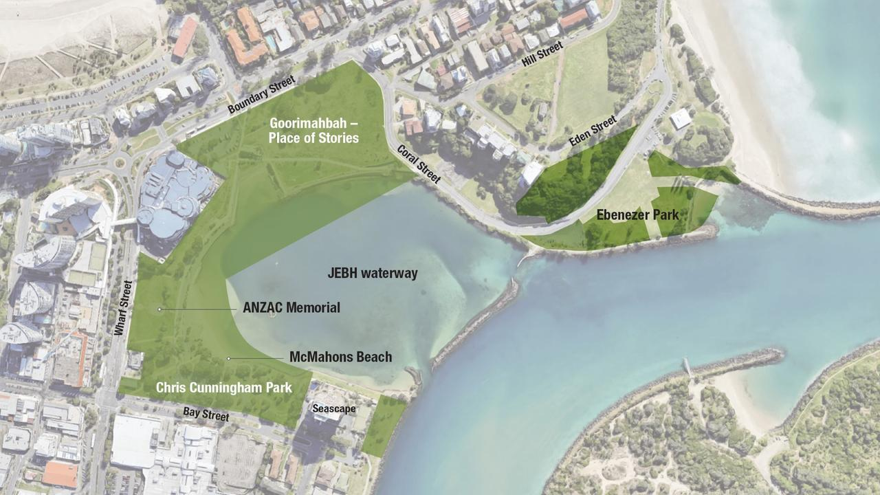 The areas covered by the adopted Jack Evans Boat Harbour Plan of Management.