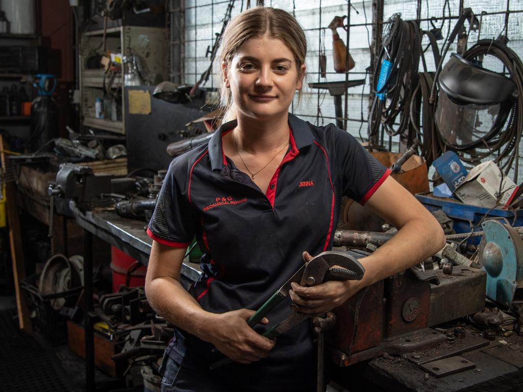 Apprentice Jenna Hayhoe says there are lots of mechanics willing to give young people a go. Picture: Brad Fleet.