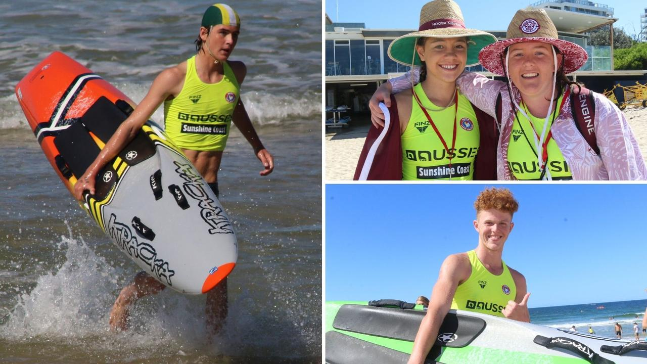 Jack Johns from Swansea SLSC, Kaiya Marsh (Noosa SLSC) and Jordan Rowlinson (Mooloolaba SLSC) and Will Doherty from Dicky Beach SLSC at the Australian Surf Life Saving Championships at Maroochydore. Picture: Tom Threadingham