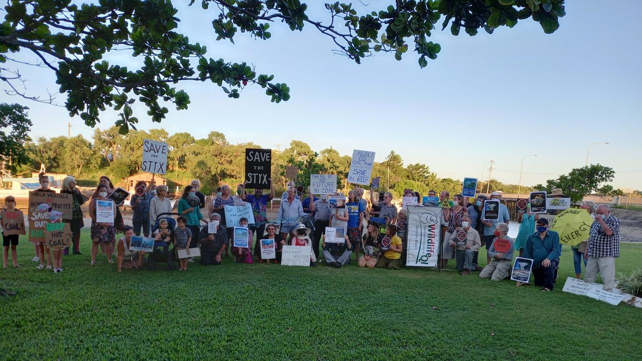 Protesters gathered at Yeppoon demonstrating against Clive Palmer's proposed Styx mine.