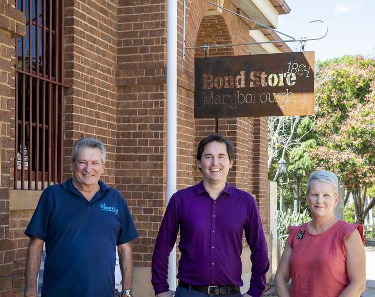 Local story teller Greig Bolderrow, Fraser Coast Mayor George Seymour and Senior Museums Coordinator Kelli Sauer.