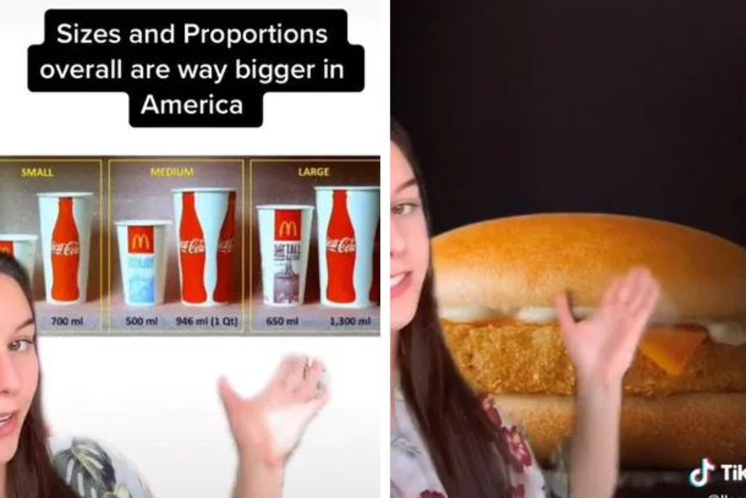 She previously shared differences between the US McDonald's and Australia's Macca's. Picture: TikTok/llarafourie