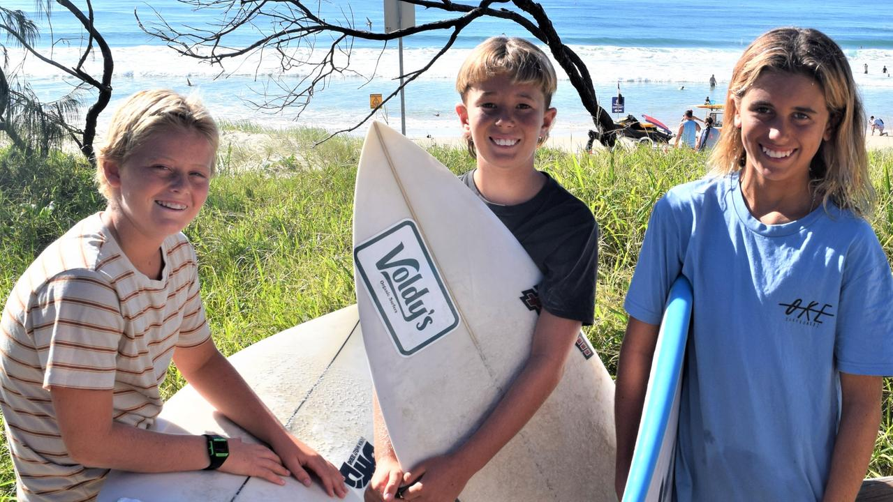 Local surfing groms Carter Bourke, 13, Zayde Taylo,11, and his brother Jai, 13, were on the spot to help save one man's life last Sunday. PHOTO: Peter Gardiner.