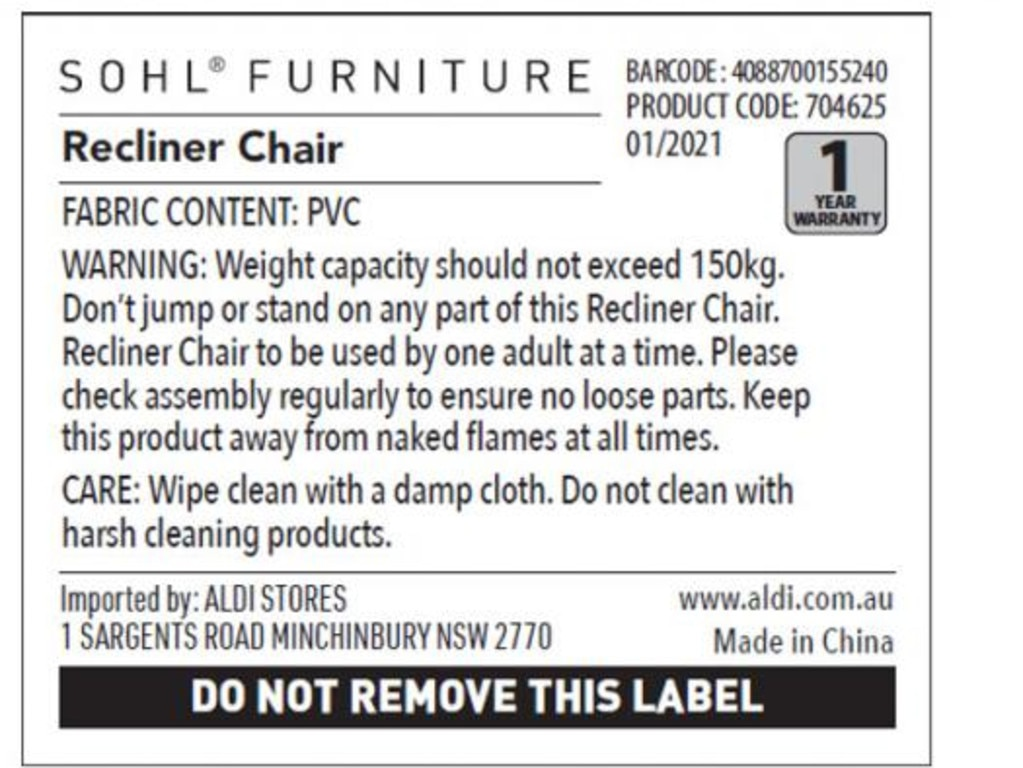 The product information for SOHL FURNITURE's Recliner Chair, sold at Aldi.