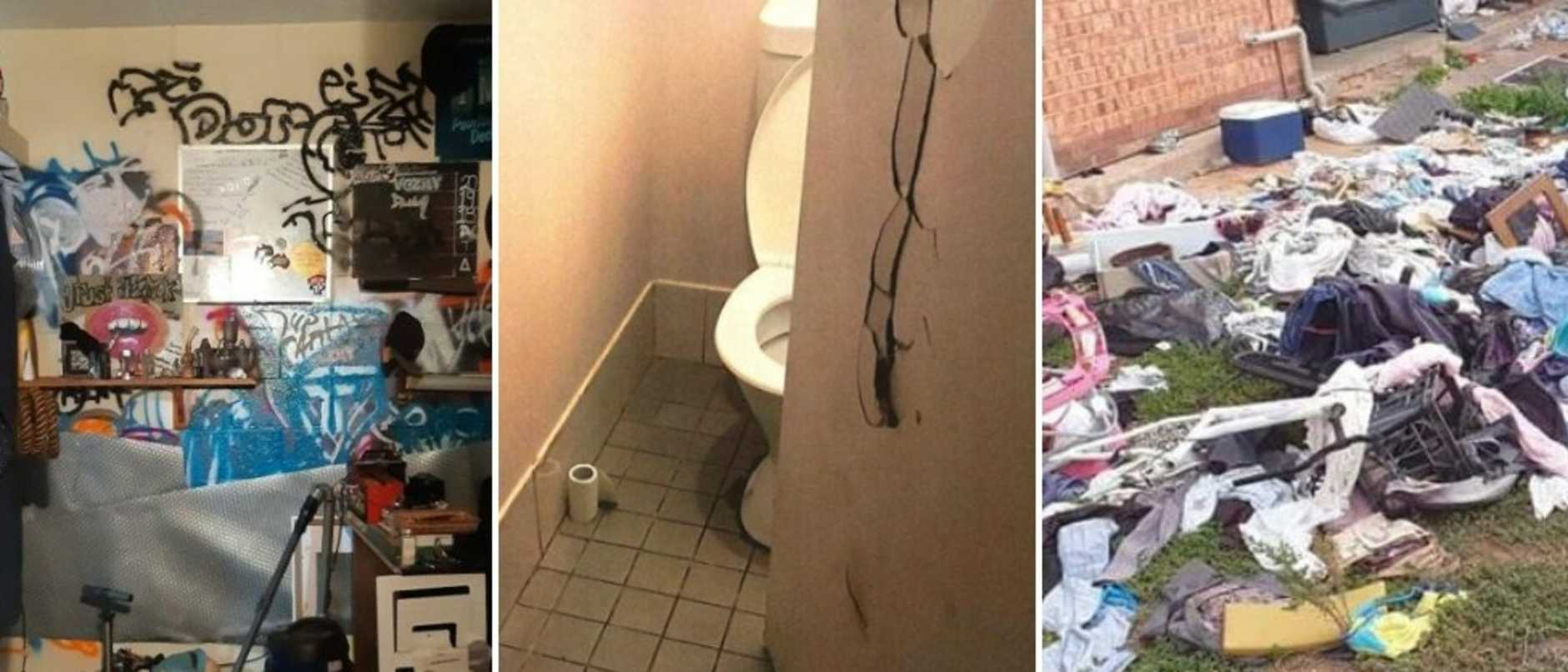 Images show homes strewn with rubbish, graffitied and doors smashed, as new figures show the number of evictions has doubled.