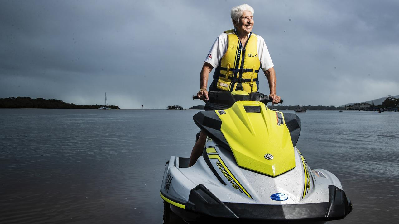 Still a livewire: Dawn Fraser, 83, jet skiing on the Noosa River. Picture: Lachie Millard.