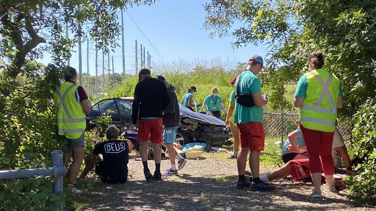 The young surf lifesavers jumped into action when they were surprised with the mock scenario of a car crash with multiple casualties.