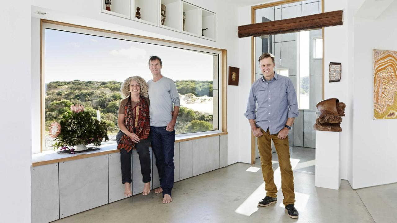 Grand Designs Australia Peter Maddison in Season Four at King Island with artists Andrew and Dianne Blake. Picture: Supplied