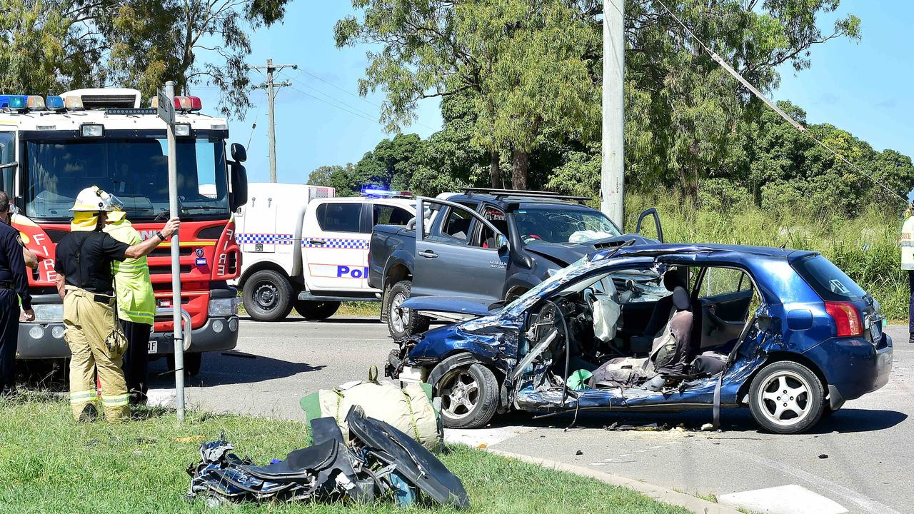 Four children were taken to Townsville University Hospital after a horrific car crash at Yabulu. Picture: Shae Beplate.