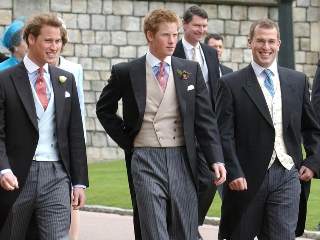 Peter Phillips (far right) will walk in-between his cousins Prince William and Prince Harry at Prince Philip's funeral. Picture: AP
