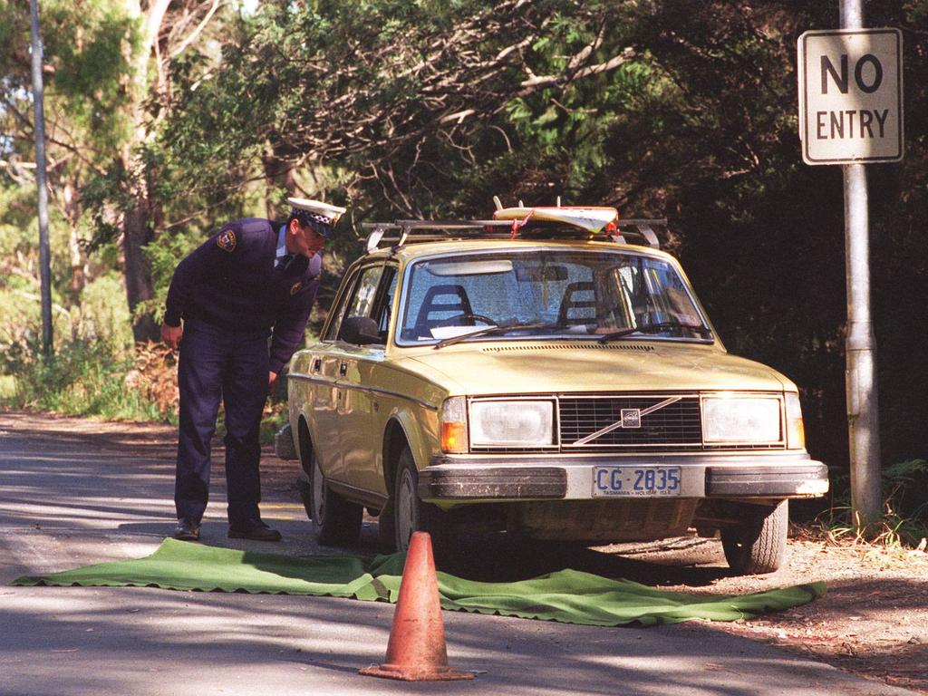 Martin Bryant's yellow Volvo near the scene of the massacre.